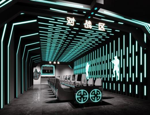 现代科技感网咖,卡座区,竞技椅子,桌子,电脑,赛博朋克主题网咖,苹果电脑