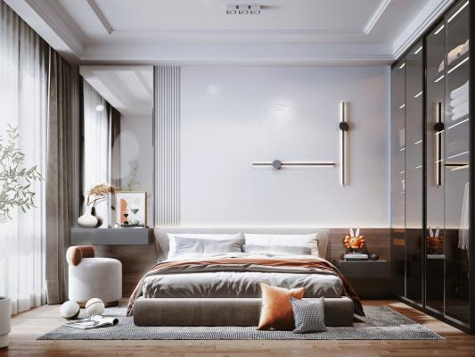 现代风格卧室 梳妆台 床