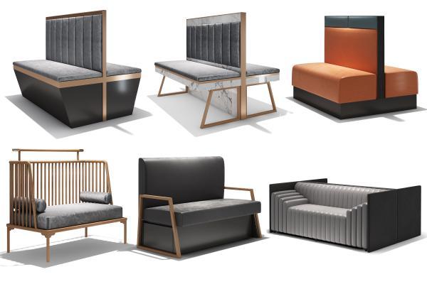 现代沙发卡座