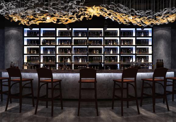 现代风格酒吧 吧台