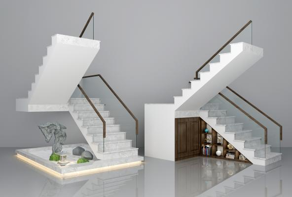 现代石材玻璃楼梯小品