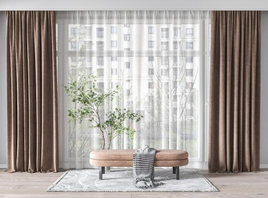 现代窗帘 床尾凳 盆栽