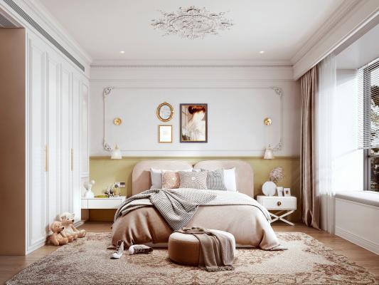 现代风格卧室 布艺床 衣柜
