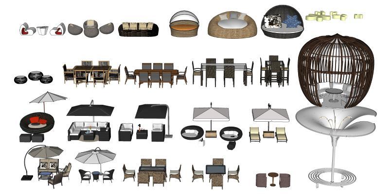 现代室外桌椅 遮阳伞 休闲藤椅