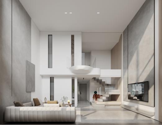 极简、侘寂风复式客餐厅、卧室、卫生间