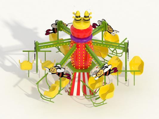 现代卡通彩色儿童娱乐 小蜜蜂儿童游乐风车
