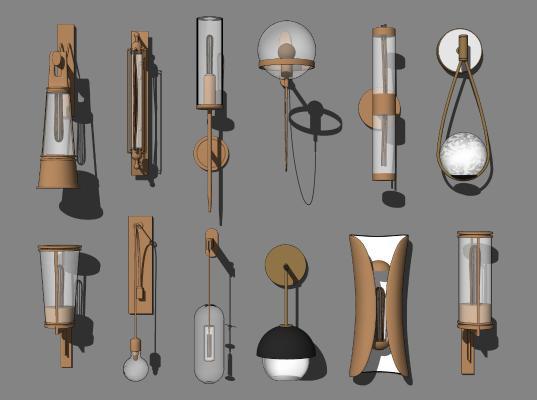 现代壁灯组合 金属装饰灯 照明灯