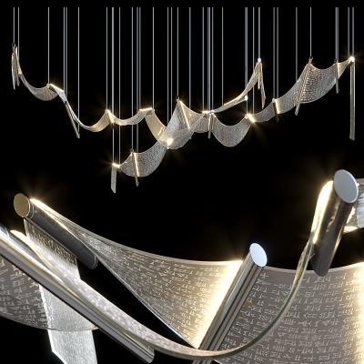 新中式文字玻璃吊灯 古文吊灯 帘子吊灯