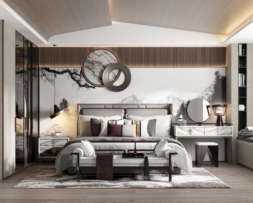 新中式卧室 床品 吊灯 椅子 化妆台 床位凳 台灯 衣柜