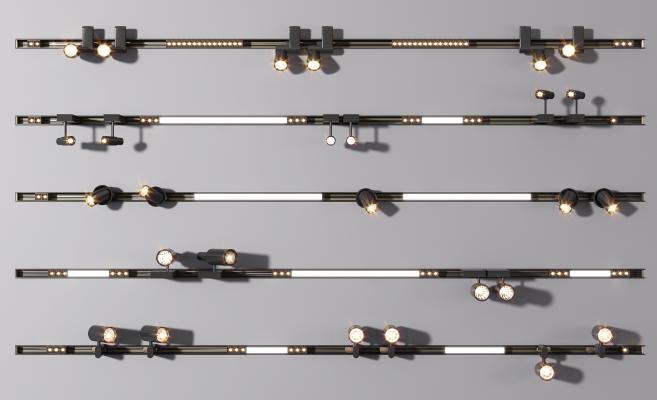 現代磁吸軌道燈射燈組合 筒燈 射燈