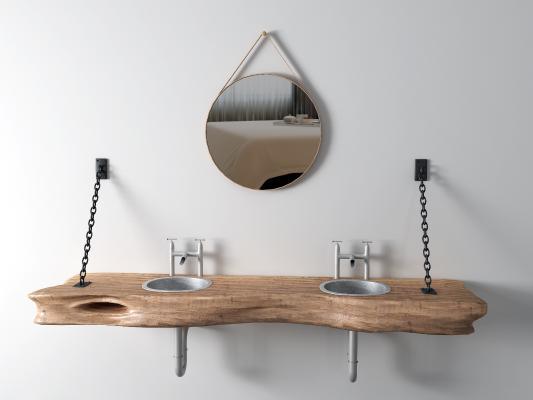 工业风台盆 镜子