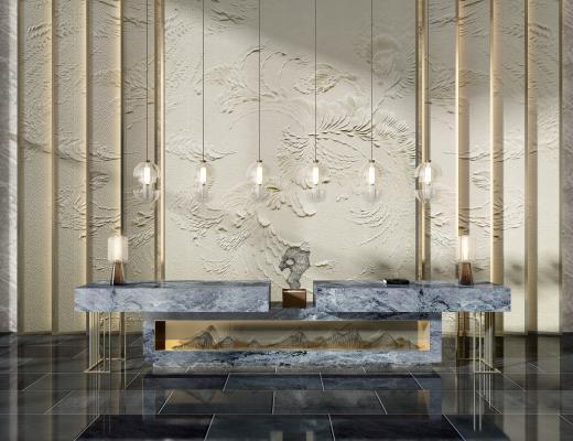 新中式玄关酒店服务台接待台造景