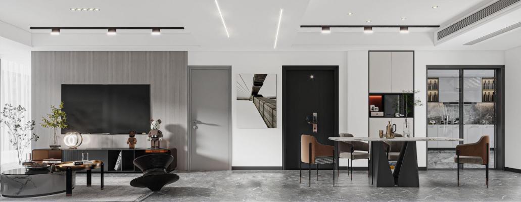 現代輕奢風格客廳餐廳3d