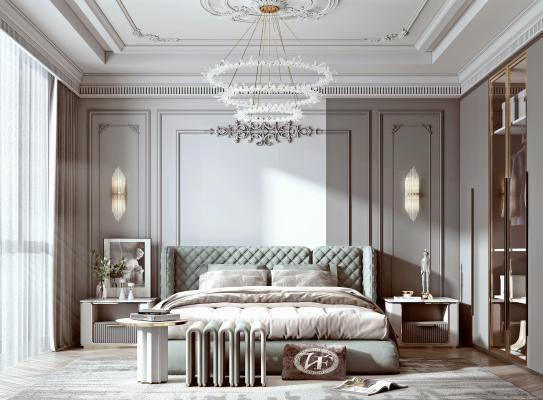法式家居卧室 双人床 床头柜