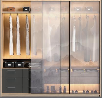 现代实木衣帽间 玻璃衣柜 衣服饰品组合