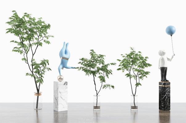 现代风格盆景盆栽 花瓶 绿植 雕塑人物组合