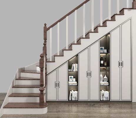 新中式风格楼梯 储物柜 楼梯柜