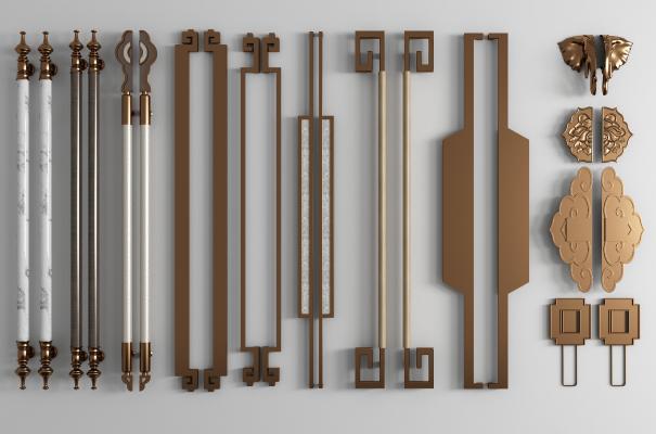 新中式金属大门把手 拉手组合