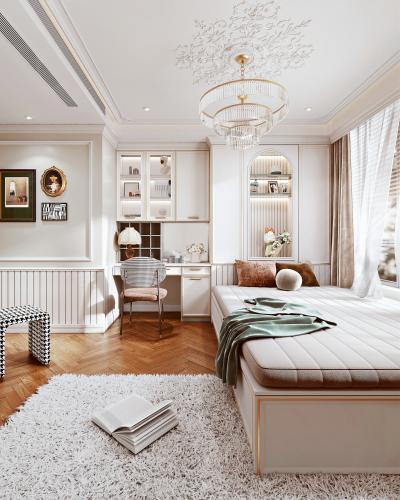 法式轻奢榻榻米卧室 床 装饰柜