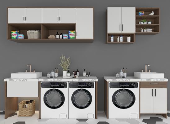 现代阳台 洗衣机组合柜 洗手盆
