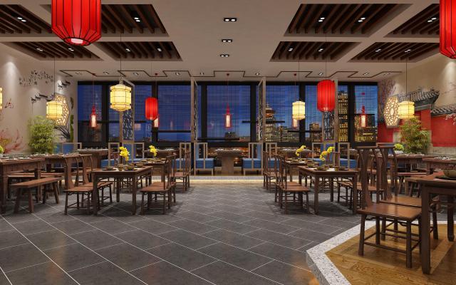 新中式餐厅 餐桌 酒柜