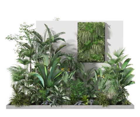 现代植物堆 绿植堆 植物