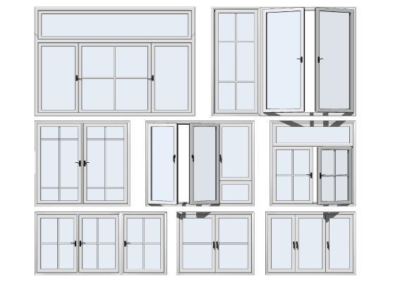 现代窗户组合 铝合金平开窗 推拉窗