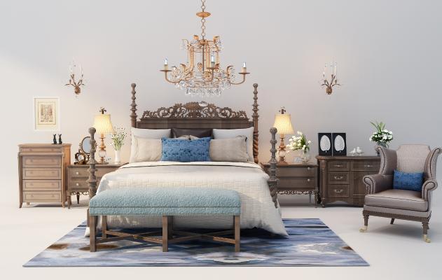 新中式床具组合