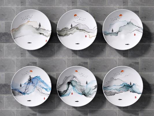 新中式盘子挂件 新中式盘子墙饰 墙饰
