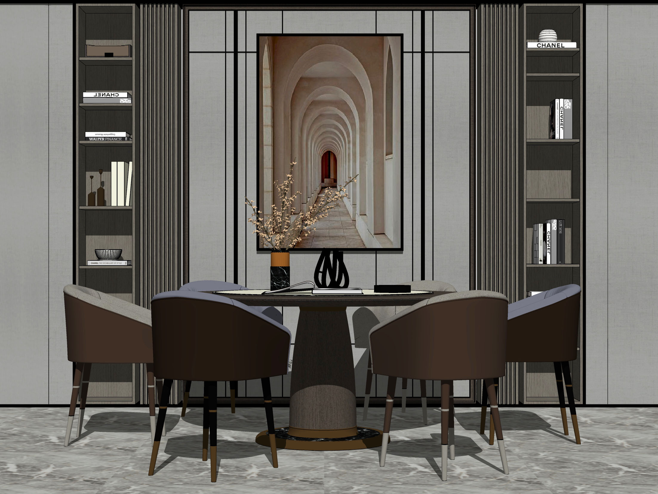 现代餐厅 圆桌餐桌椅组合
