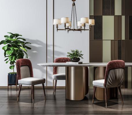 现代餐桌椅 植物 吊灯组合