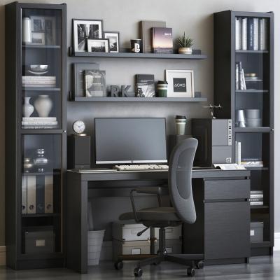 現代書桌椅組合 書柜