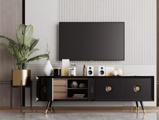 现代电视柜 装饰摆件背景墙组合