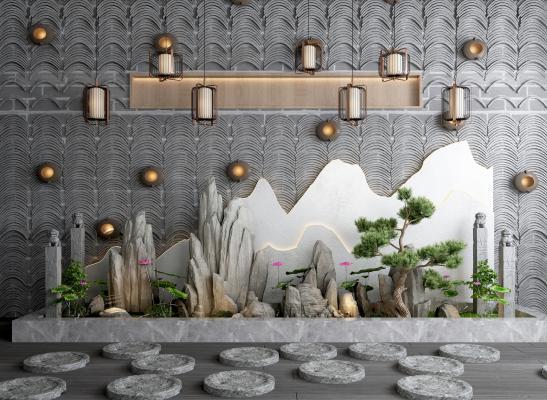新中式假山石头 荷花绿植 瓦片背景