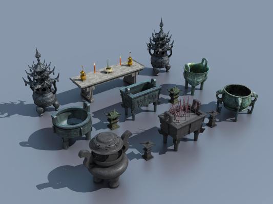 传统中式青铜鼎壁炉铜炉组合