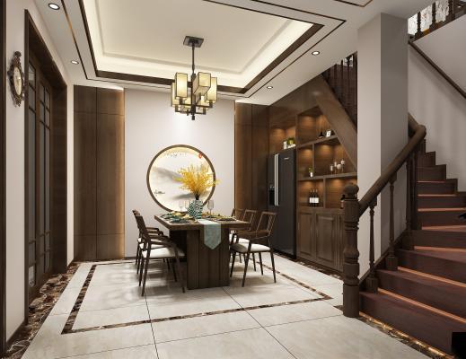 新中式客餐厅 餐桌椅 吊灯
