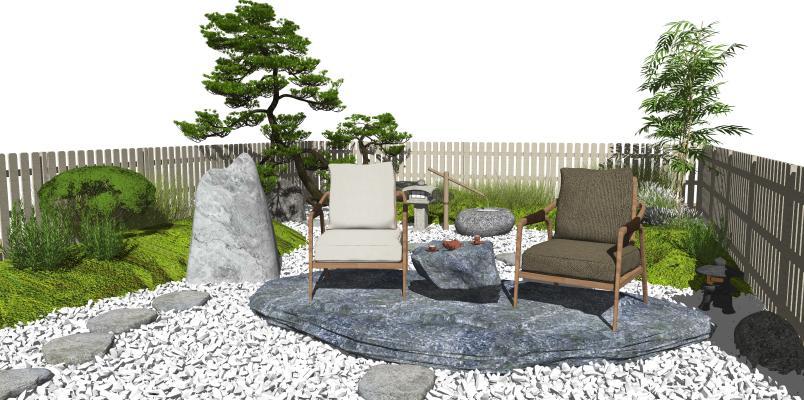 新中式禅意庭院景观 景观小品 枯山水