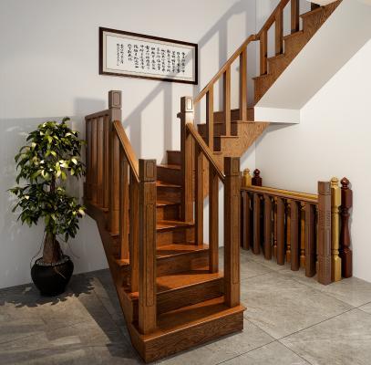 新中式楼梯 实木楼梯 楼梯栏杆