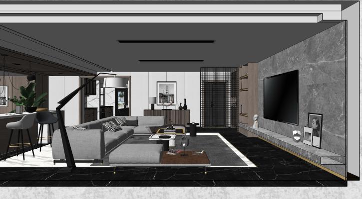 现代极简别墅客厅