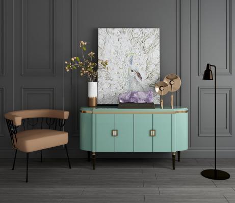 美式玄关柜边柜单人椅落地灯装饰画花瓶摆件组合