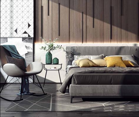 现代单人床 单人椅 背景墙