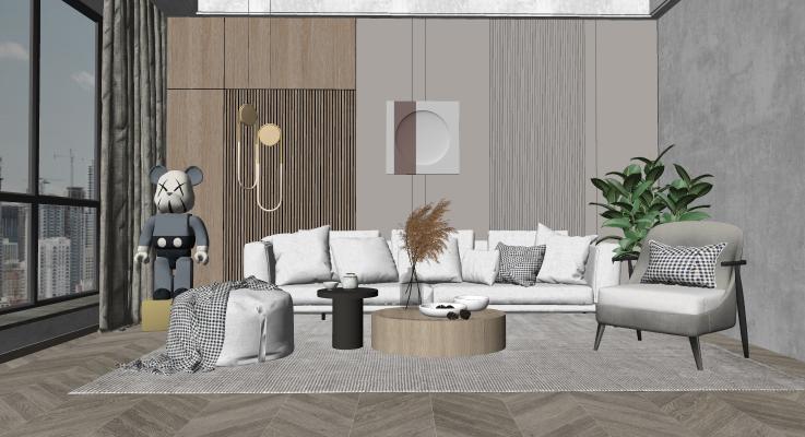 现代客厅 沙发茶几组合 多人沙发 休闲椅