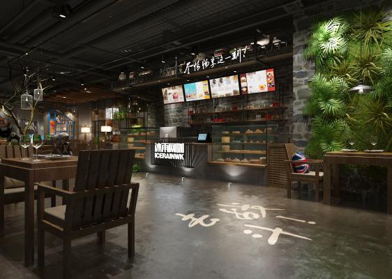 工业风休闲餐厅 前台 绿植