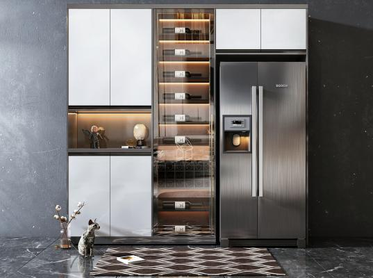 现代风格酒柜 冰箱柜组合 装饰品 摆件