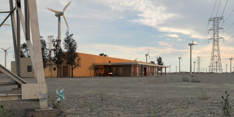 现代工业建筑 风车