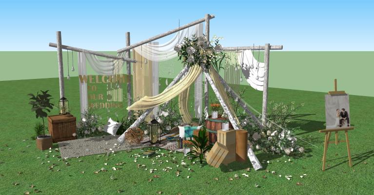 現代公園景觀 戶外婚禮儀式 婚慶現場 場地背景