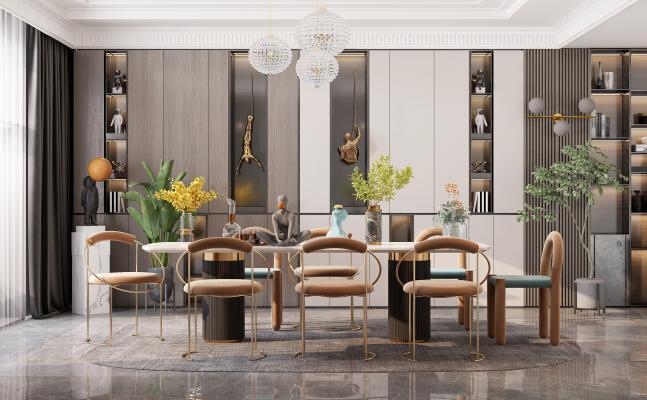 现代客厅 餐厅 餐桌椅 背景墙