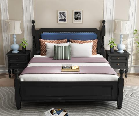 美式黑色实木皮革靠包床 床头柜组合