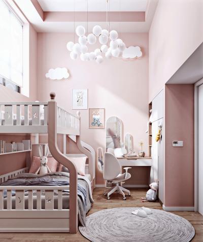 现代女孩房 上下铺儿童床 书桌