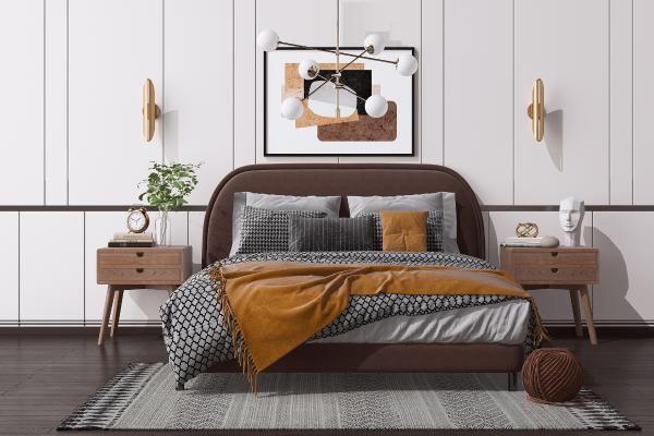 现代双人床组合 床头柜 台灯
